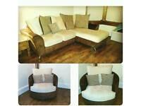 SCS corner sofa and swivel armchair