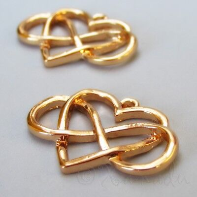 Infinite Love Charms 27mm Gold Plated Heart Pendants C0002 - 2, 5 Or 10PCs