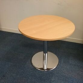 Circular beech effect table with chrome stand