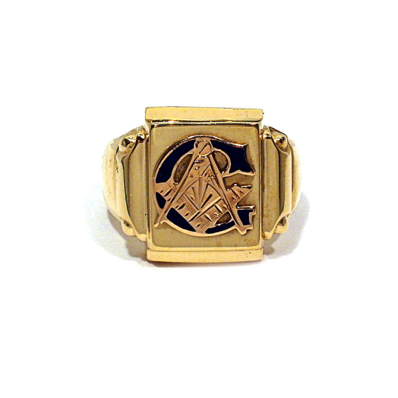 SOLID 10K YELLOW GOLD MASONIC RING ~ SIZE 9 1/2