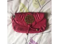 Pink leather Mischa Barton clutch
