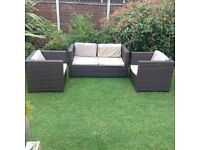 Rattan garden patio/conservatory sofa and 2 chairs with washable cushions £175 ono