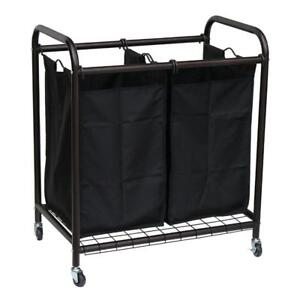 New Oceanstar 2-Bag Bronze Rolling Laundry Sorter, PICKUP ONLY - DI8