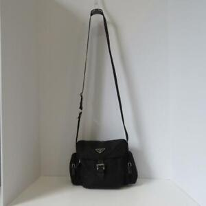 1158339ae304 Prada Black Nylon Leather Buckle Flap Camera Bag Crossbody Purse