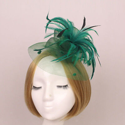 Vintage Mini Top Hat Feather Net Hair Clip Fascinator Lady Dark Green