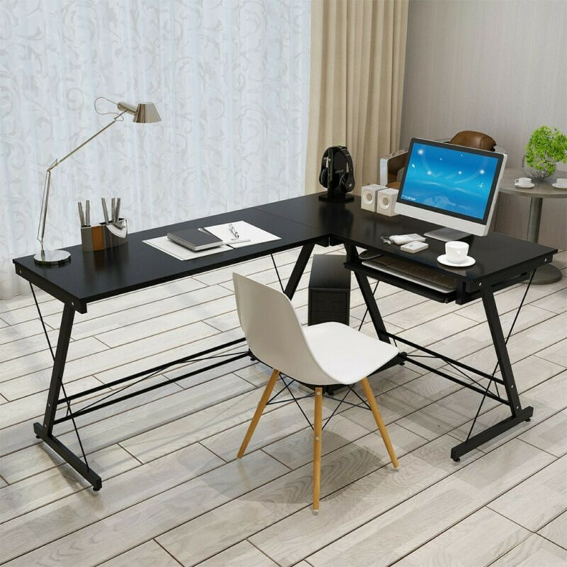L-Shape Concer Computer Desk PC Laptop Table Workstation Gla