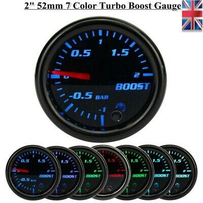 12V 52mm Pointer Led Display Turbo Boost Pressure Gauge Kit Car Meter Bar 7color
