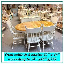 Vintage , shabby chic solid table & 6 chairs (inc 2 carvers)