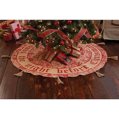 "Mud Pie Twas the Night Before Christmas Burlap Tree Skirt 58"" Round 4264234 New"