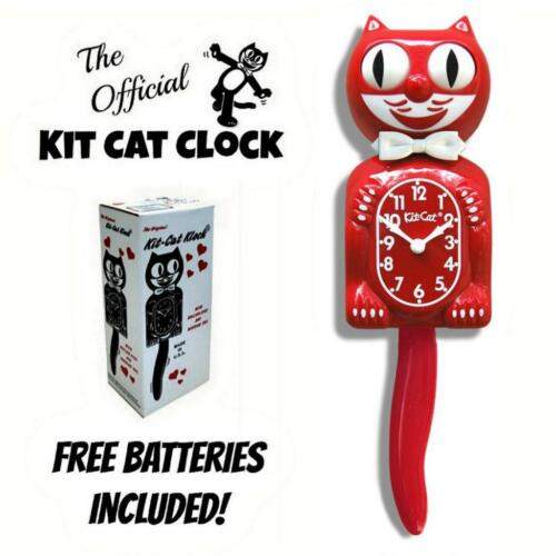 """SCARLET RED KIT CAT CLOCK 15.5"""" Free Battery LIMITED EDITION New MADE IN USA"""