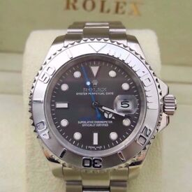 rolex yacht master rhodium face blue sweeping hand sapphire tough glass 2.5x date ceramic bezal