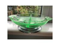 Art Deco 1930s green glass party dish on chrome base