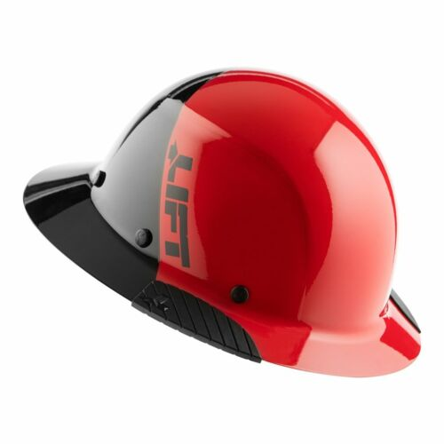 LIFT Safety DAX FIFTY/50 RED & BLACK Full Brim Hard Hat w/Ratchet Suspension