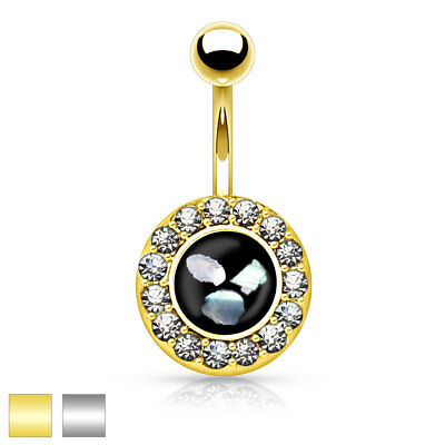 Surgical Steel Belly Button Piercing Pendant round with Zirconia