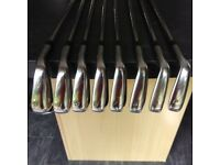 Taylor made R9 Tour Preferred irons : 3 - wedge - fitted with KBS tour stiff shafts