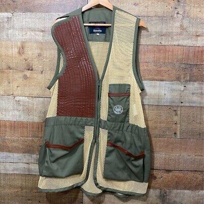 Beretta Mens Shooting Hunting Vest  Beige Mesh, Leather, &  Pockets Zipper XL 56