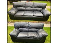 Black sofas 2 / 3 seater leather set can be delivered