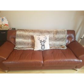 Brown leather 3 seater sofa. Cleaning and protection wipes inc. Small scrathes on right arm