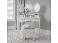 White Dressing/Make up table with 3 mirrors and stool
