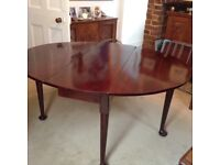 Victorian solid wood drop leaf dining table