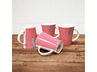 4x Red & White Striped Cup Mugs