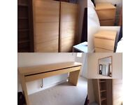 Bedroom Furniture available as a set or individually (wardrobe, dressing&bedside tables, shelves)