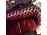 Oxblood leather Chesterfield 3 piece suite