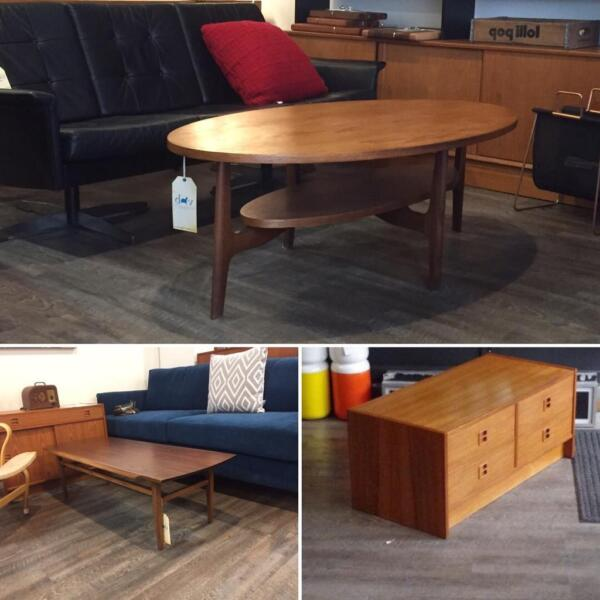 mid century teak walnut and rosewood coffee tables