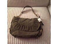 Suede effect small handbag in khaki