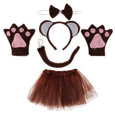 Packung mit 5 Tier Affe Ohren Stirnband Bow Tail Tutu Rock Set Kostüm
