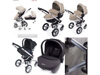 Silvercross surf 3 complete pram/pushchair in sand with silver cross simplicity car seat in black