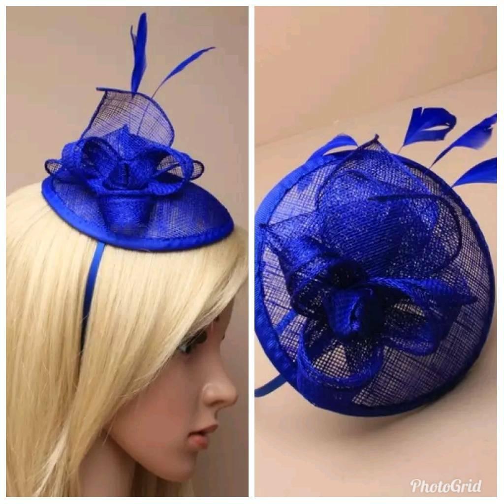 a0fa888133c Royal blue sinamay fascinator hatinator