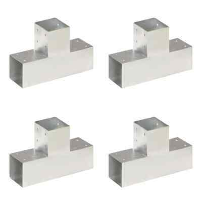 vidaXL 4x Post Connectors T Shape Galvanised Metal 91x91mm Wood Beams Support
