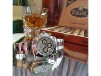 New mens bagged and boxed silver rolex daytona with silver face