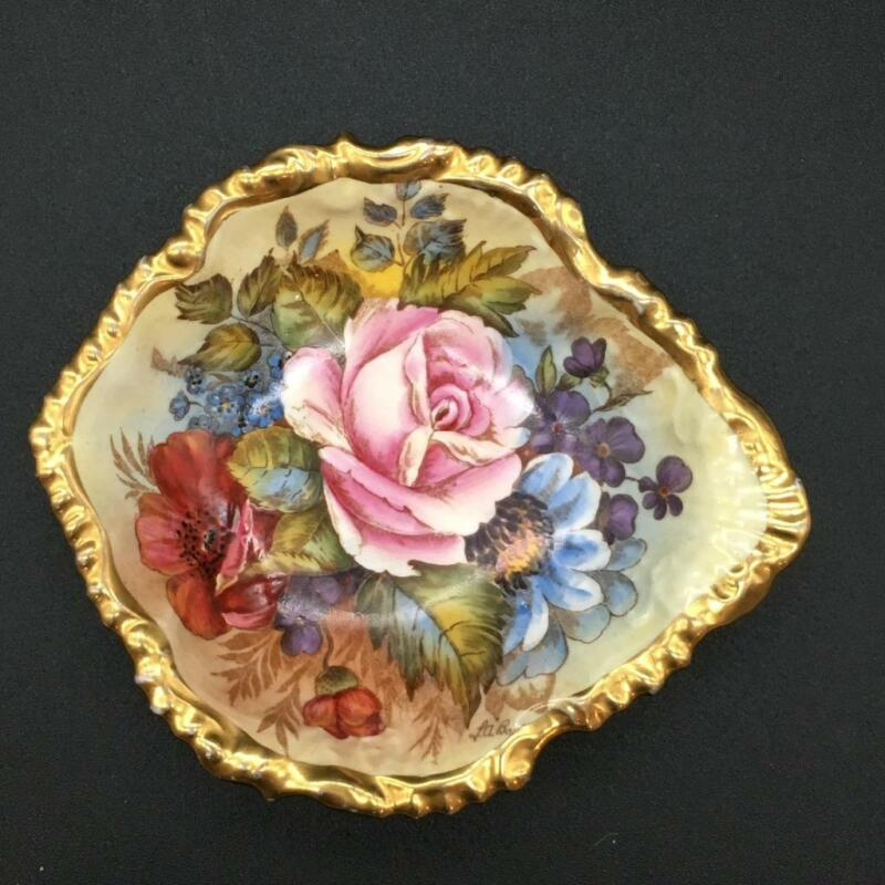 AYNSLEY CABBAGE ROSE SHELL SHAPED DISH SIGNED BAILEY CS107