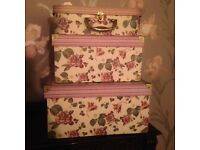 3 lovely floral pink storage boxes
