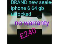 Brand new sealed iphone 6 64gb unlocked No warranty