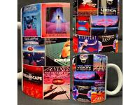 Custom printed 90s rave flyer mugs