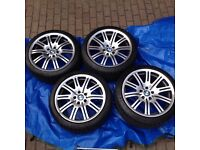 """Set of 4 X 19""""OEM E46 M3 wheels with nearly new Michelin Pilot SuperSport tyres"""