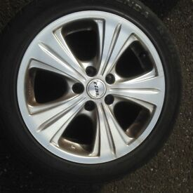 FOUR RIAL ALLOY WHEELS/TYRES FOR SALE GOOD TREAD BARGAIN AT £25 PER TYRE!!