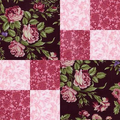 Marianne Giselle Burgundy Pink Black Rose Floral Quilt Fabric Kit Pre-cut