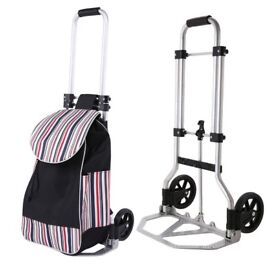 Aluminum Folding Hand Truck 2 Wheeled Shopping Cart Trolley
