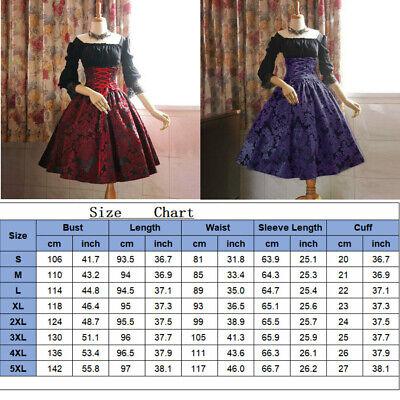 Halloween Dress Women (Medieval Renaissance Lace Up Dress Women Lolita Palace Halloween Cosplay)