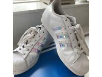 Holographic Adidas superstars size 5
