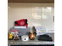 Nintendo 3ds with games and Rare Pokemon amiibo figures