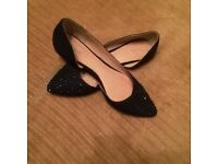 Next Flat navy shoes with sequins size 5