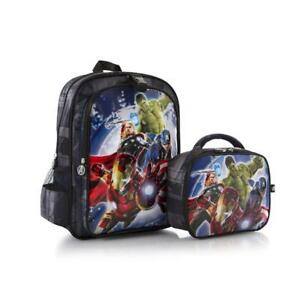 Avengers 15 inch Backpack Bag with Detachable Lunch Kit Box- Features Iron Man, Captain America , Hulk Blue