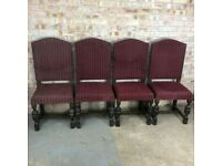 Vintage Wooden Dining Chairs with Acorn Legs