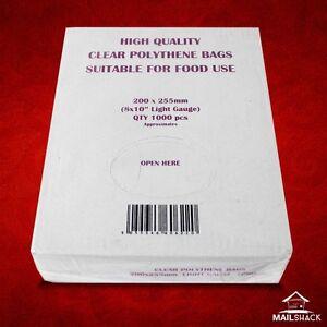 1000 CLEAR Polythene Food Craft Plastic Bags Light Gauge 8
