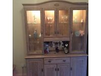 Limed Oak Cabinet, table and 4 chairs and occasional table
